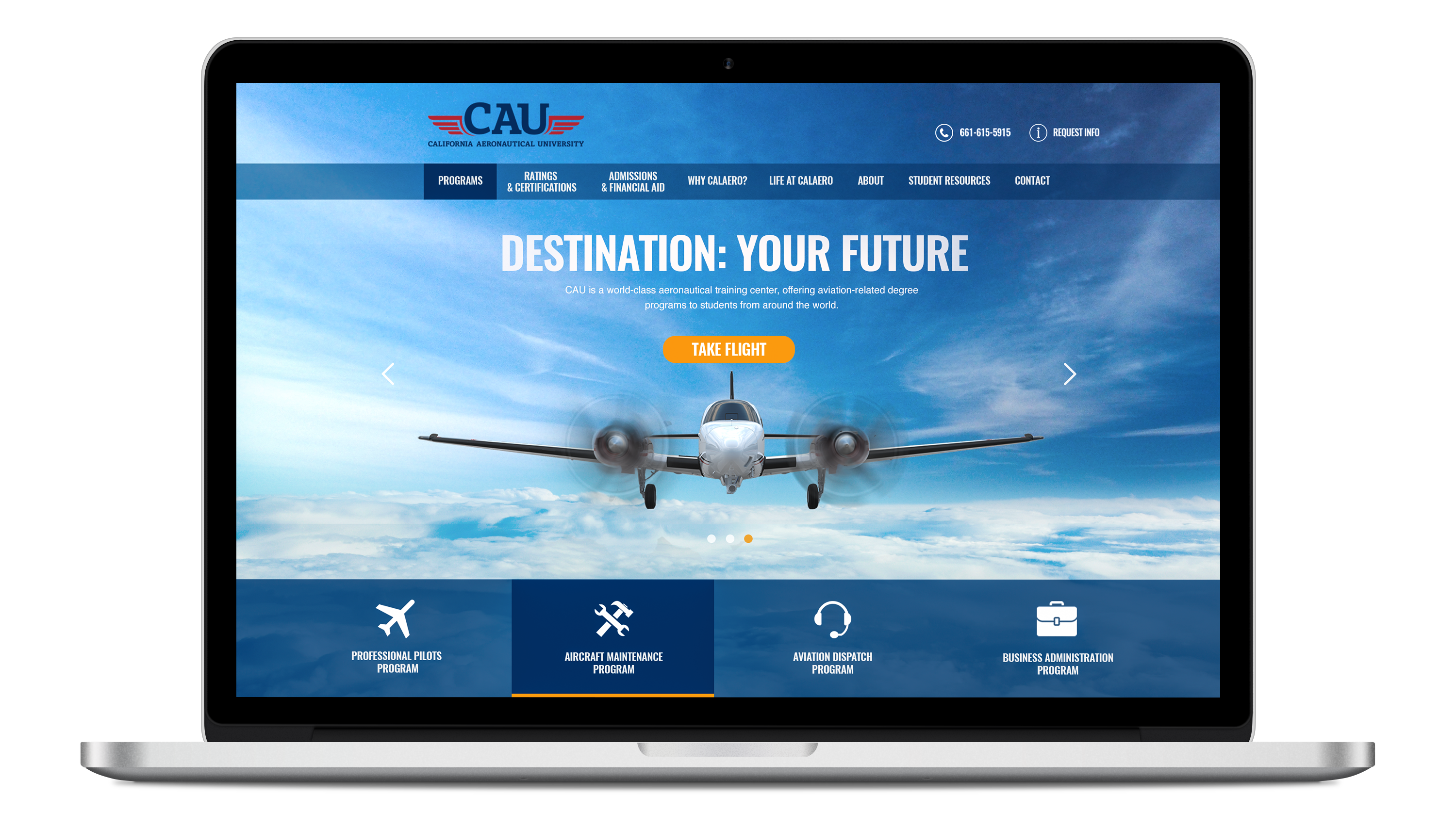 electronic devices displaying web site we built