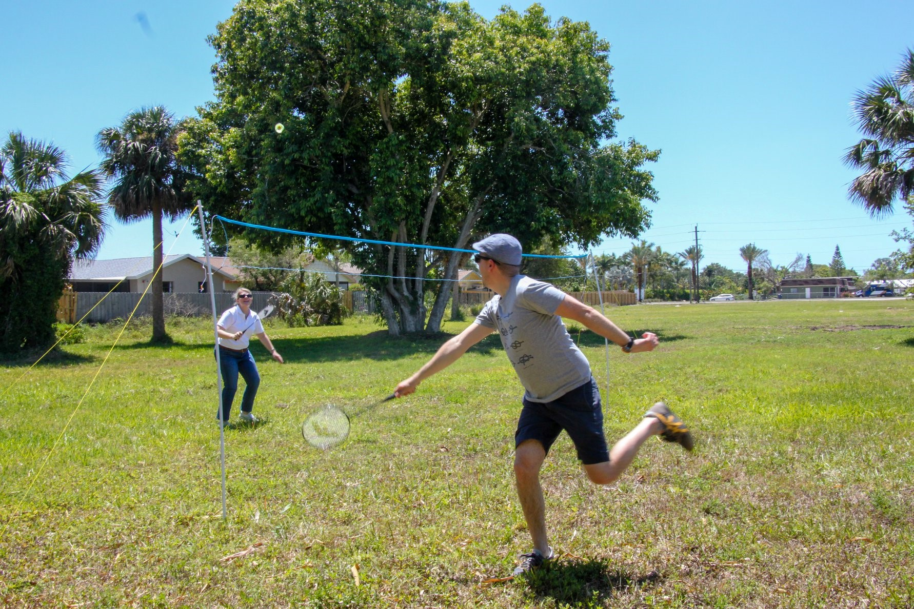 employees having fun outside for company field day