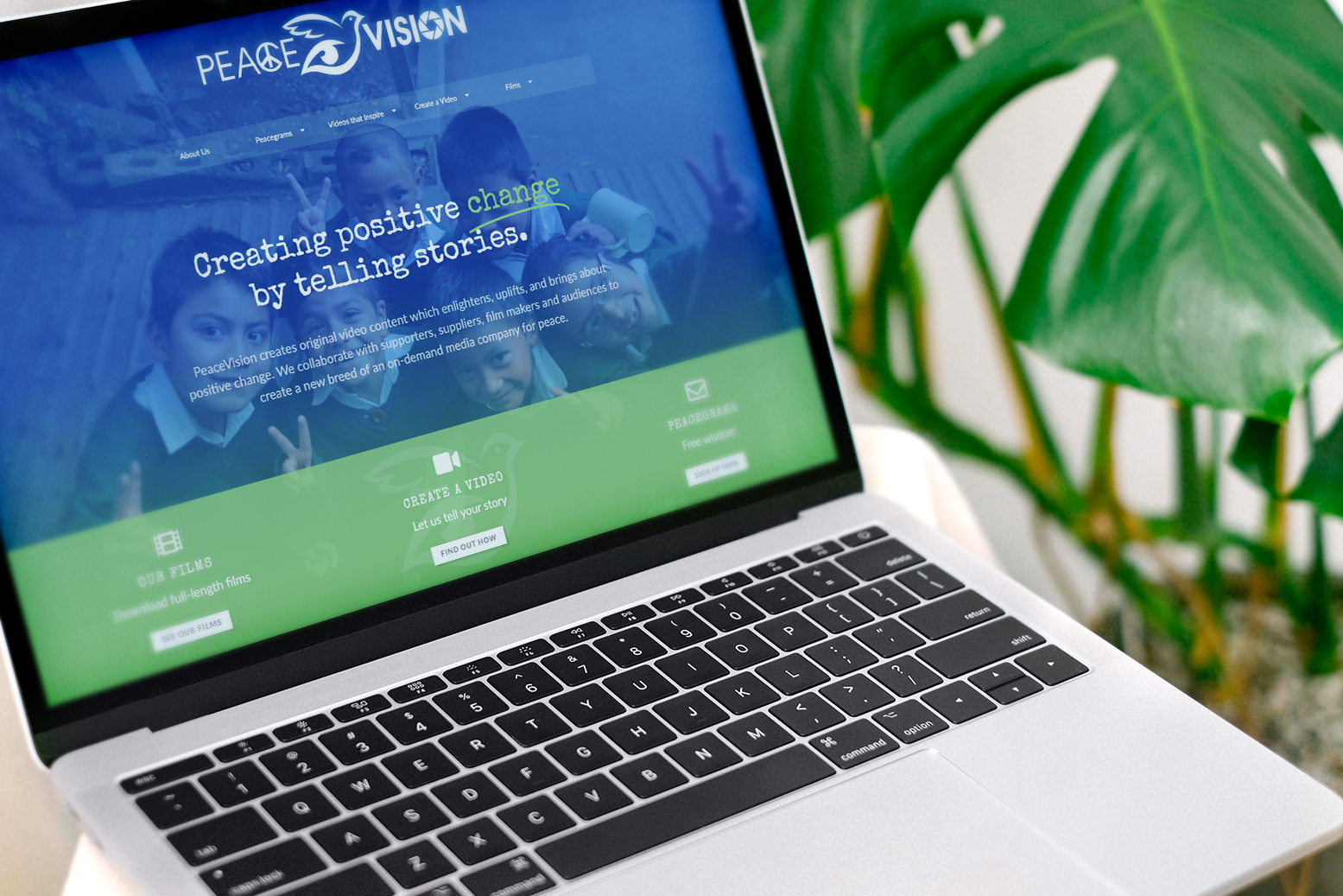 PeaceVision website on a laptop